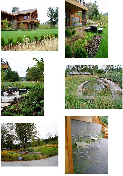 Un jardin créé pour une maison inspirée par le style de l'architecte Frank Lloyd Wright près de Portland