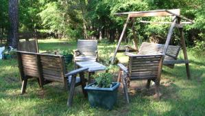 Le jardin dans lequel se réunissait le groupe pendant les premières années.