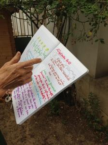 Anne montre un cahier dans lequel elle consigne les activités du jardin (le temps, les travaux, les remarques des enfants,...)